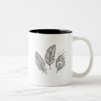 Intricate Feather Doodle Two-Tone Coffee Mug