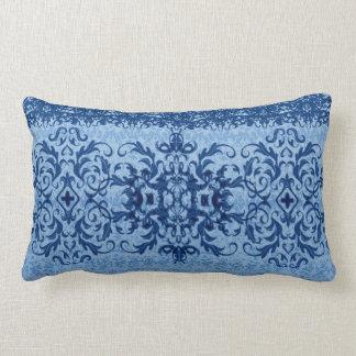 Intricate Fleur De Lis in Blue Lumbar Cushion