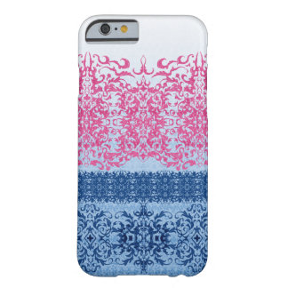 Intricate Fleur De Lis in Pink and Blue Barely There iPhone 6 Case