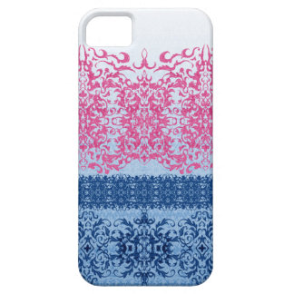 Intricate Fleur De Lis in Pink and Blue iPhone 5 Cases