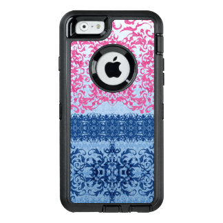 Intricate Fleur De Lis in Pink and Blue OtterBox Defender iPhone Case