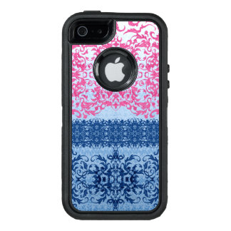 Intricate Fleur De Lis in Pink and Blue OtterBox iPhone 5/5s/SE Case