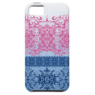 Intricate Fleur De Lis in Pink and Blue Tough iPhone 5 Case