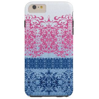 Intricate Fleur De Lis in Pink and Blue Tough iPhone 6 Plus Case