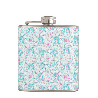 Intricate Floral Collage Hip Flask