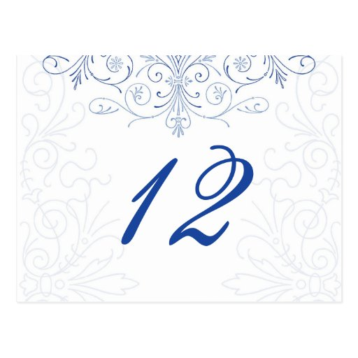 Intricate Flourish Wedding Table Number Postcard