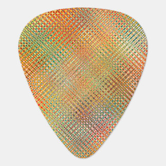 Intricate Gold Yellow Pink Red Green Pattern Plectrum