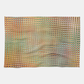 Intricate Gold Yellow Pink Red Green Pattern Tea Towel