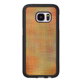 Intricate Gold Yellow Pink Red Green Pattern Wood Samsung Galaxy S7 Case