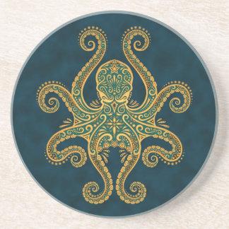 Intricate Golden Blue Octopus Drink Coaster