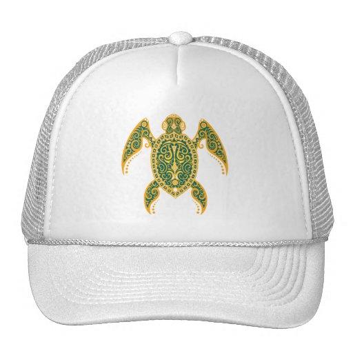 Intricate Golden Blue Sea Turtle Trucker Hats