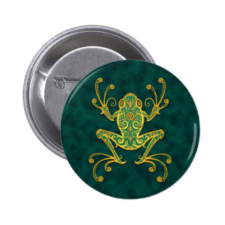 Intricate Golden Blue Tree Frog Pins