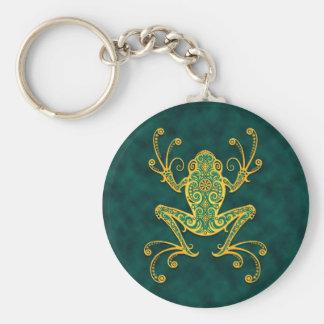Intricate Golden Blue Tree Frog Key Ring
