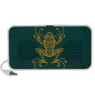 Intricate Golden Blue Tree Frog Speaker System