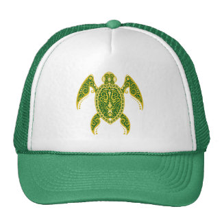 Intricate Golden Green Sea Turtle Mesh Hat