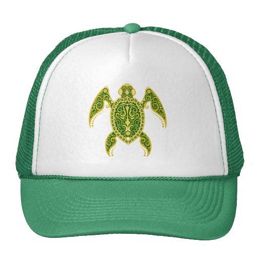 Intricate Golden Green Sea Turtle Mesh Hat