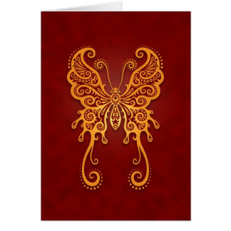 Intricate Golden Red Butterfly Card