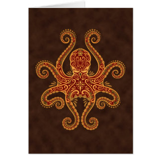 Intricate Golden Red Octopus Card