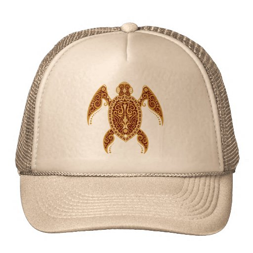 Intricate Golden Red Sea Turtle Hats