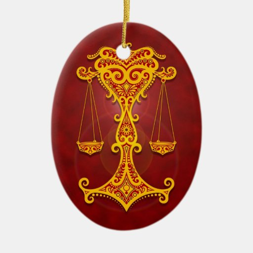 Intricate Golden Red Tribal Libra Christmas Ornament