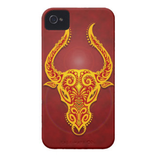 Intricate Golden Red Tribal Taurus iPhone 4 Cover