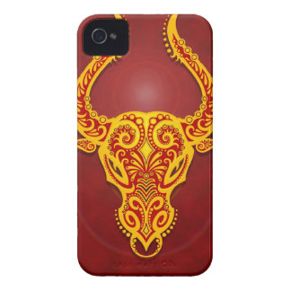 Intricate Golden Red Tribal Taurus, tight iPhone 4 Case-Mate Case