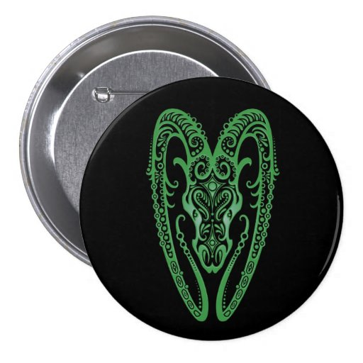 Intricate Green Aries Zodiac on Black Button