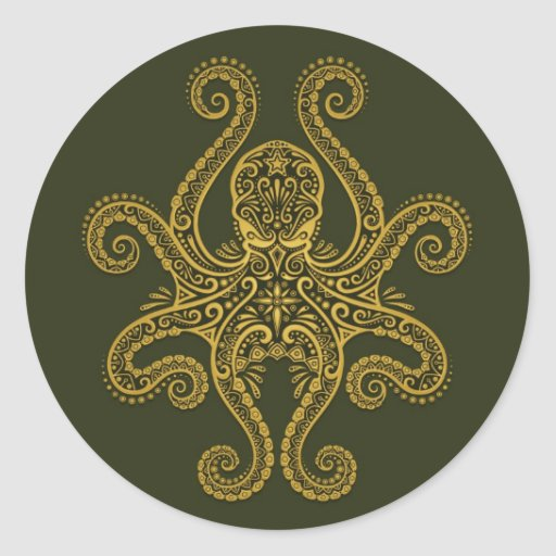 Intricate Green Octopus Stickers