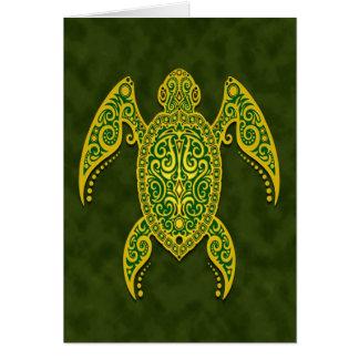 Intricate Green Sea Turtle Card
