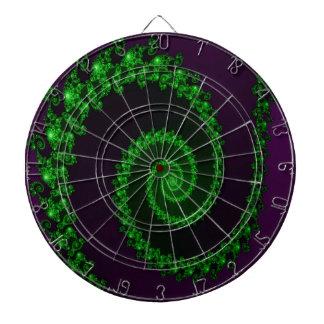 Intricate Green Swirl on Purple Fractal Dart Board