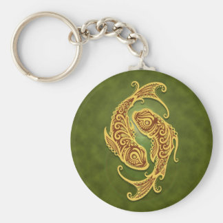 Intricate Green Tribal Pisces Key Ring