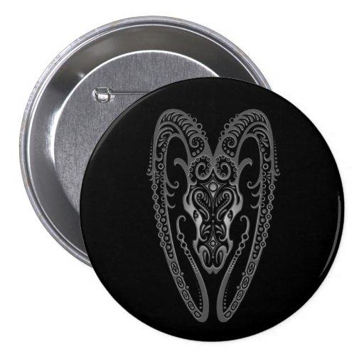 Intricate Grey Aries Zodiac on Black Pinback Button