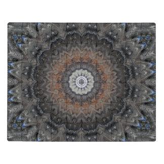 Intricate Grey, Blue, and Orange Mandala Acrylic Jigsaw Puzzle