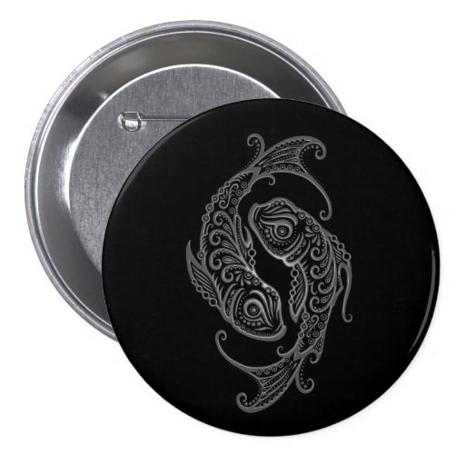 Intricate Grey Pisces Zodiac on Black Pinback Buttons