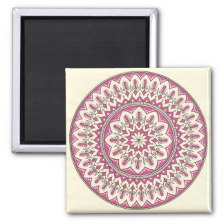 Intricate Hand Drawn Cream And Pink Mandala Square Magnet