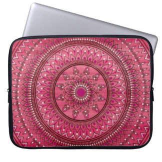 Intricate Hand Drawn Red And White Mandala Computer Sleeves
