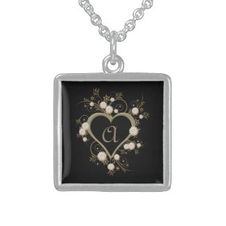 Intricate Heart and Flowers Decorative Monogram Sterling Silver Necklace