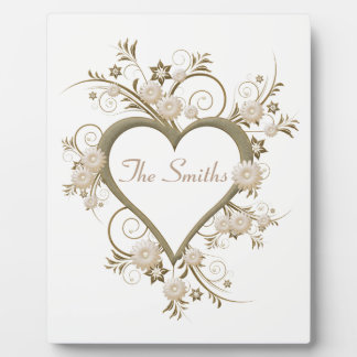 Intricate Heart and Flowers Family Name Plaque