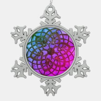 Intricate metalwork purple mandala xmas decoration