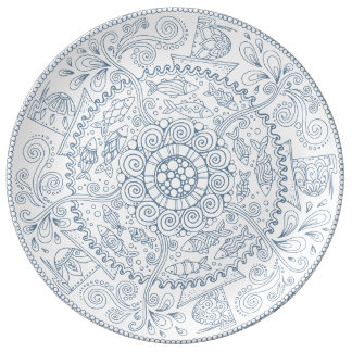 Intricate Ocean Life Seamless Pattern. Plate