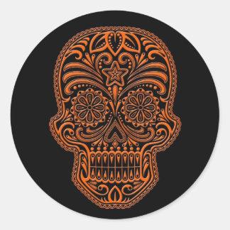 Intricate Orange Sugar Skull on Black Classic Round Sticker