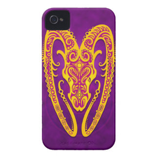 Intricate Purple and Yellow Tribal Aries Case-Mate iPhone 4 Case