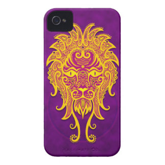 Intricate Purple and Yellow Tribal Leo iPhone 4 Case-Mate Case