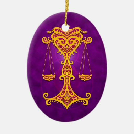 Intricate Purple and Yellow Tribal Libra Christmas Ornament