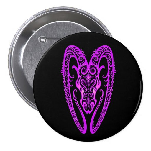 Intricate Purple Aries Zodiac on Black Pinback Buttons