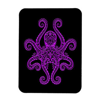 Intricate Purple Octopus on Black Rectangle Magnets