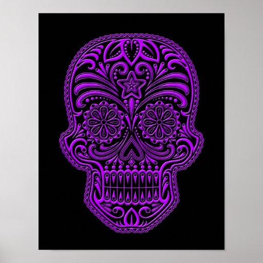Intricate Purple Sugar Skull on Black Posters