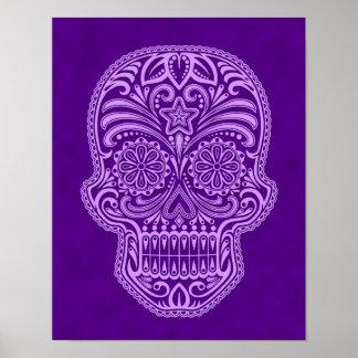 Intricate Purple Sugar Skull Posters