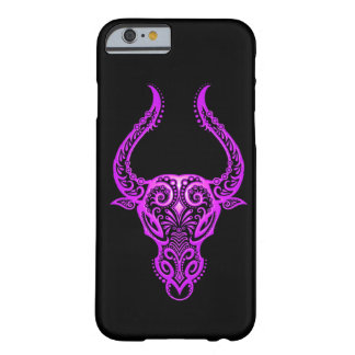 Intricate Purple Taurus Zodiac on Black Barely There iPhone 6 Case