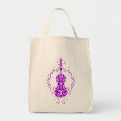 Intricate Purple Violin Design Tote Bag